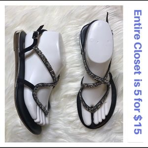 G By Guess Strappy Glitter Black & Silver Sandals